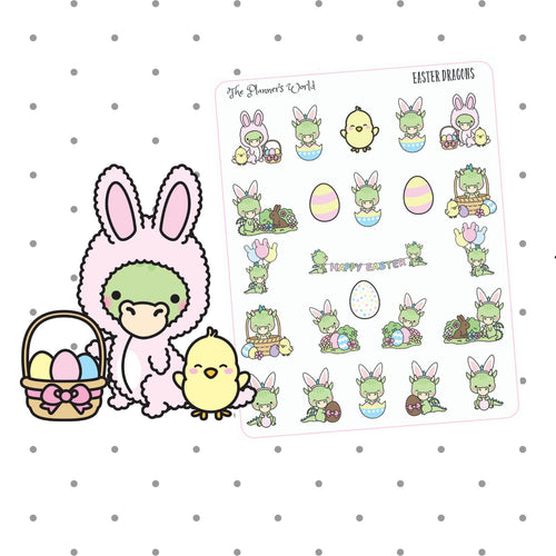 Cute Easter Dragon Planner Stickers - holiday stickers - The Planner's World