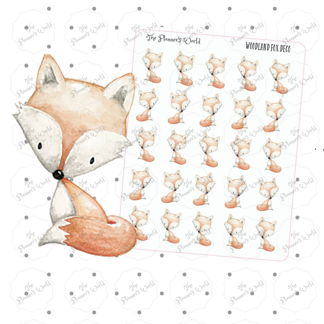 woodland animal stickers - woodland fox stickers - fox planner stickers - woodland fox planner stickers - cute stickers - woodland stickers - The Planner's World