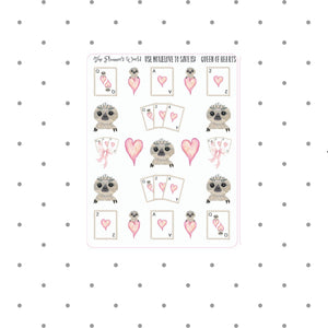 Queen of Hearts Moxie Stickers - Cards stickers  - Sloth Stickers - cute sloth - no go swag -- vegas games sampler - card games stickers - The Planner's World