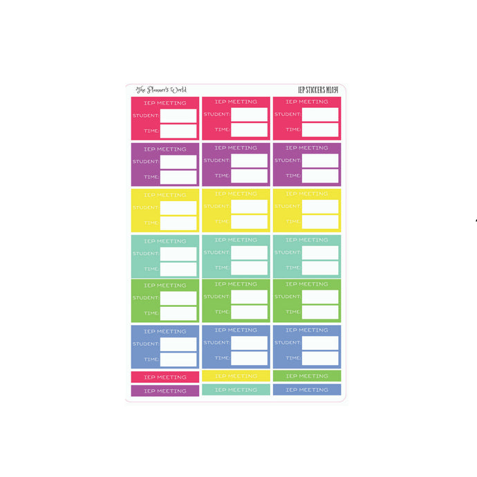 RAINBOW IEP Meeting Planner Stickers - The Planner's World