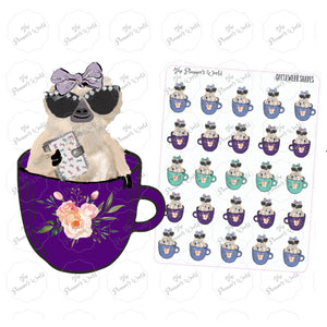 Moxie Gotta Wear Shades Sloth coffee cup planner stickers - The Planner's World