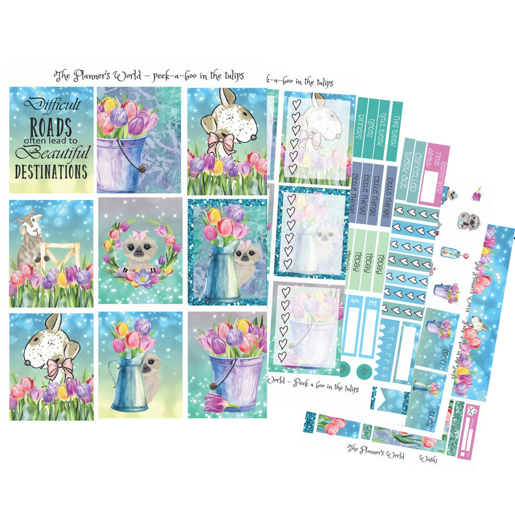 Planner Sticker Kit - Weekly Vertical Kit - Peekaboo in the tulips - The Planner's World