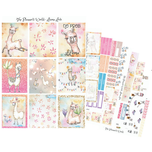 Llama Love Vertical Weekly Planner Sticker Kit - The Planner's World