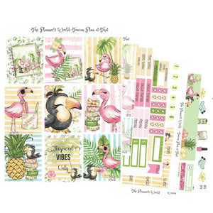 Vertical Weekly sticker kit - Toucan Plan at That Weekly Stickers - tropical stickers - The Planner's World