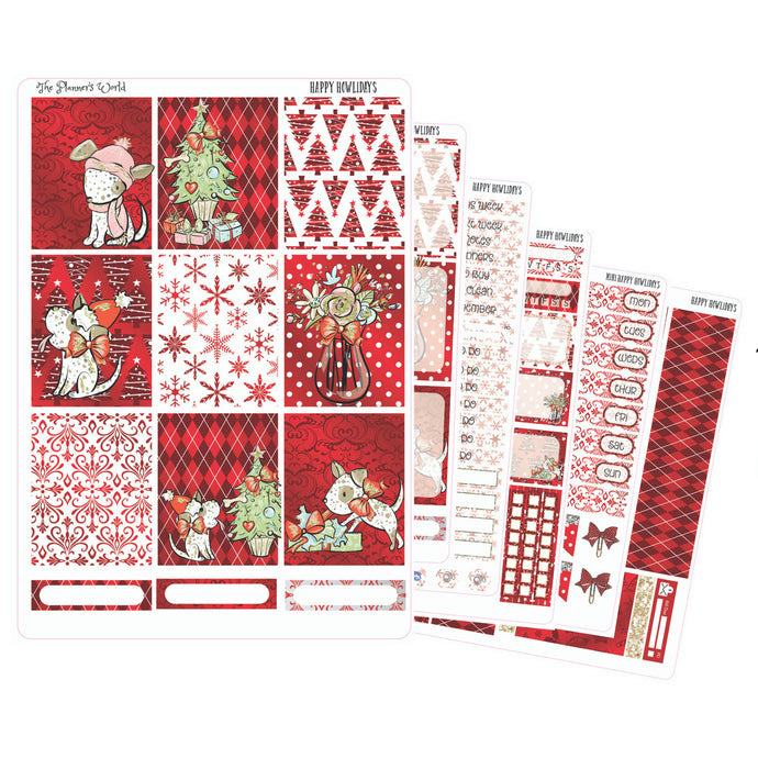 Happy Howlidays Weekly Vertical Sticker Kit christmas - The Planner's World