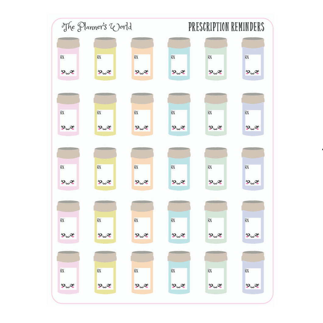 Kawaii Prescription planner stickers - The Planner's World