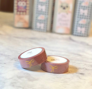 Sabrina pink foiled bow washi tape - The Planner's World