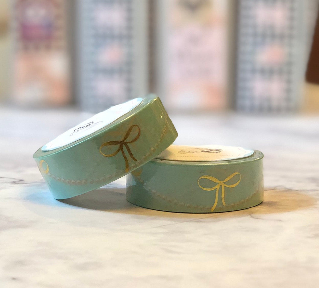 Sabrina blue foiled bow washi tape - The Planner's World