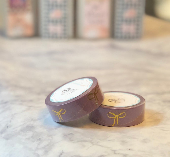 Sabrina purple foiled bow washi tape - The Planner's World