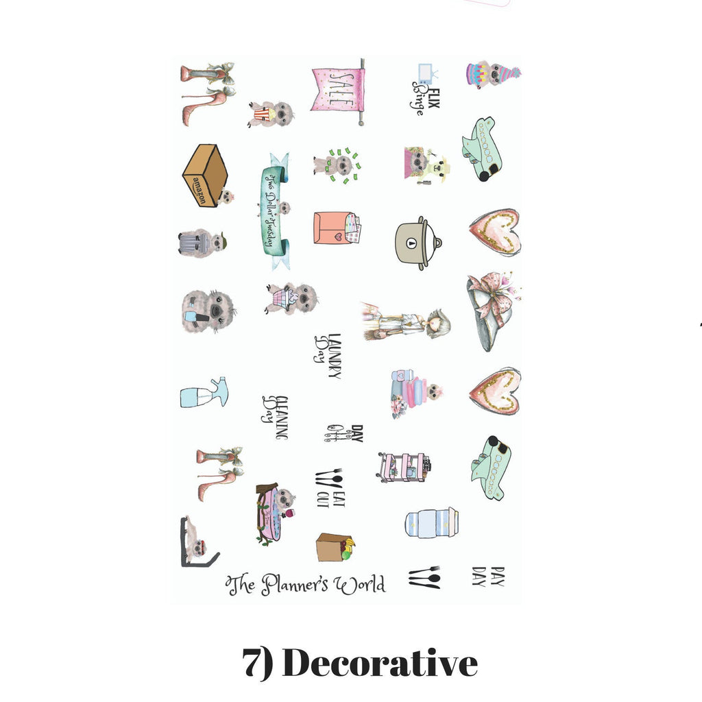 Shop Til You Drop - Weekly Vertical Kit - ala carte - weekly sticker kit - vertical - chic planner stickers - planner girl sticker - The Planner's World