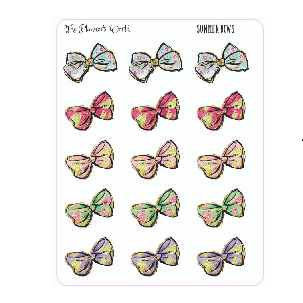 Summer Bow stickers - The Planner's World