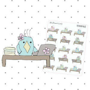 Bill Due Stickers - Pay Bill Stickers - Bill due stickers - featherbies planner character stickers - hand drawn planner stickers - The Planner's World