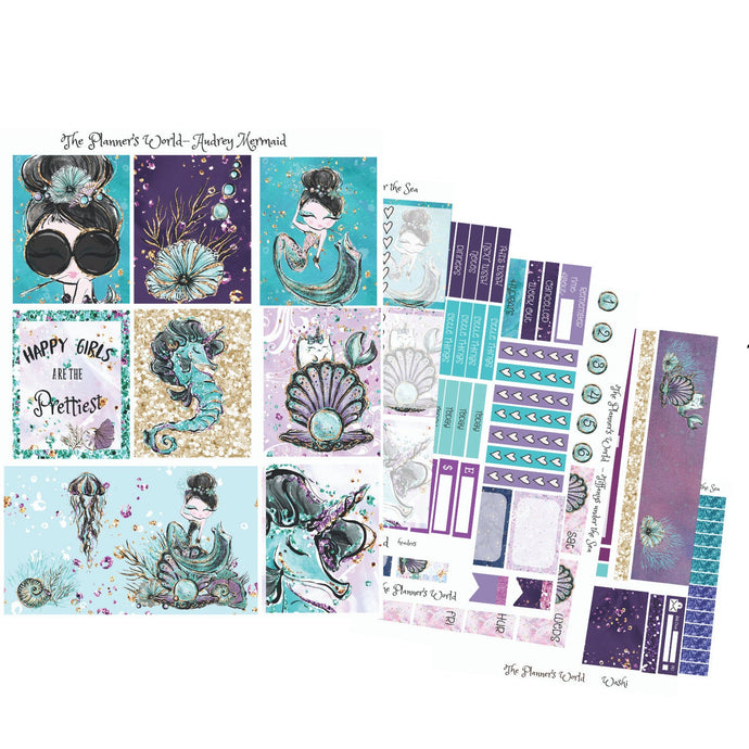 Tiffanys under the Sea Deco Boxes - mermaid Sticker - weekly planner kit - eclp vertical planner kit - vertical stickers - Mermaid planner