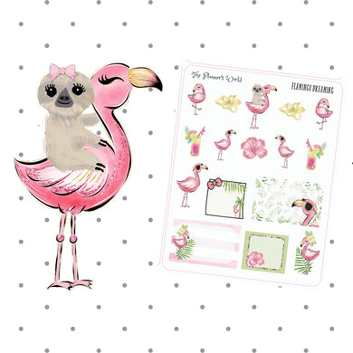 Flamingo Dreams tropical sticker sampler - The Planner's World