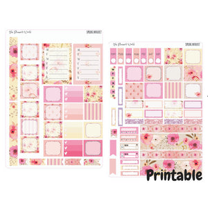 Spring Bouquet Hobonichi Kit - Printable sticker kit - printable stickers - digital stickers - downloadable - instant digital download - The