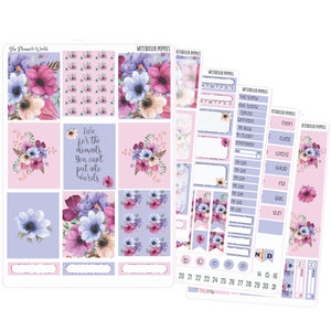 Watercolor Poppies Weekly standard Vertical Planner Sticker Kit - The Planner's World