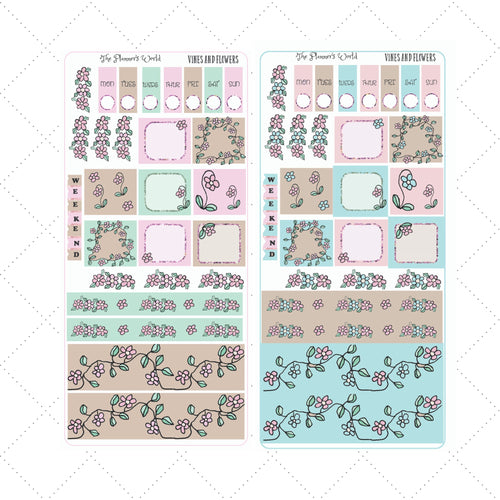 Vines and Flowers Hobonichi Weeks planner sticker kit - The Planner's World