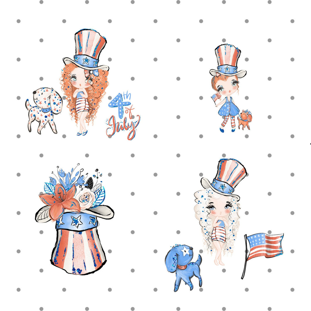 4th of July girl Die Cut Stickers - The Planner's World