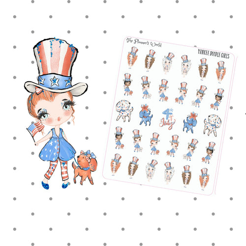 Yankee Doodle Girls - 4th of july stickers - holiday - planner stickers - patriotic - cute - planner girl - july 4 stickers - seasonal - The