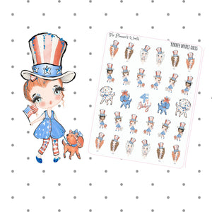 Yankee Doodle Girls - Stickers - July 4 stickers - holiday - planner stickers - patriotic - cute - planner girl - july 4 stickers - seasonal - The Planner's World