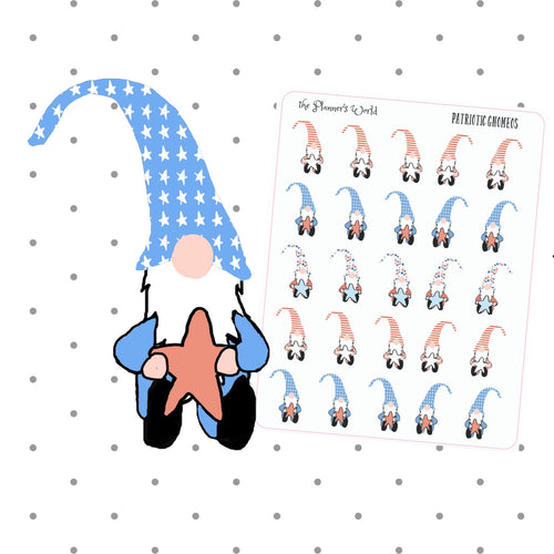 Patriotic Gnome Stickers - 4th of july stickers - holiday - planner stickers - patriotic - cute - planner girl - july 4 stickers - The Planner's World