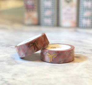 Foiled Washi tape - pink foiled bow wedding washi tape - Sabrina - The Planner's World