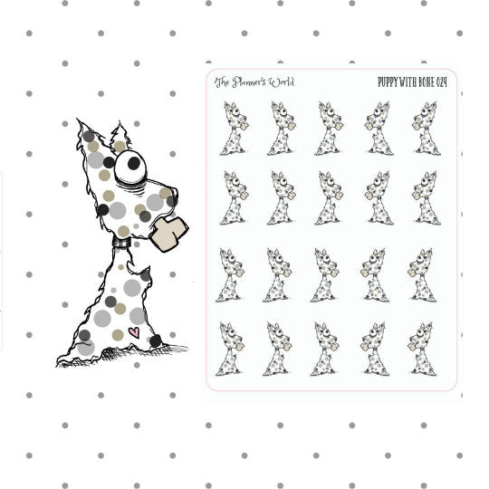 dog mom puppy with bone stickers and diecut - The Planner's World