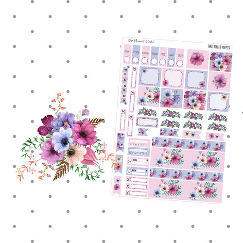 Watercolor Poppies Hobonichi Weeks Planner Sticker Kit - The Planner's World