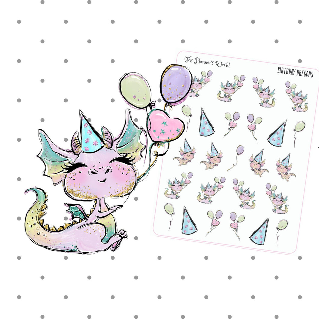 dragon stickers - Birthday - Dragon Planner Stickers - The Planner's World