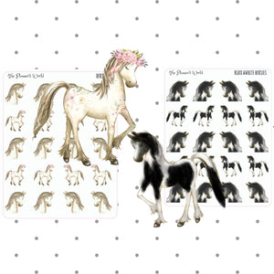 Horse planner stickers - horsies - horse stickers - pony planner stickers - pony stickers - The Planner's World