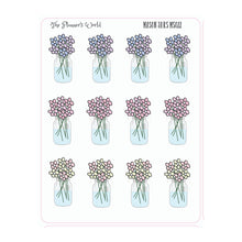 Mason Jar planner Stickers - country chic stickers - farmhouse bouquet planner stickers - floral stickers - mason jars - The Planner's World