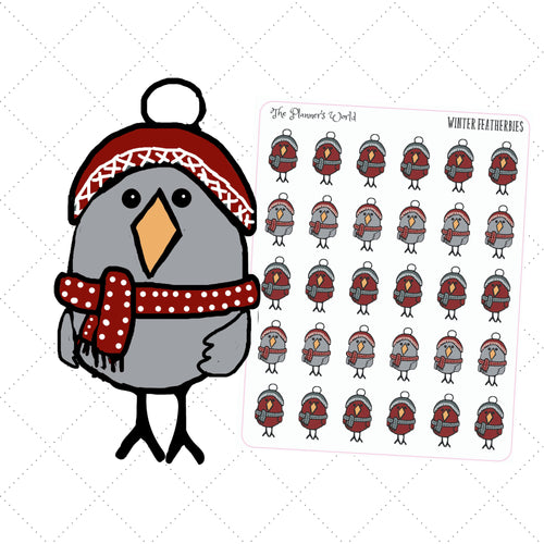 Featherbies winter planner stickers - The Planner's World