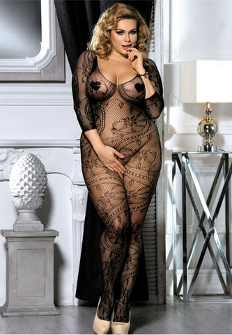 Plus Size Fishnet Open Crotch Bodystockings