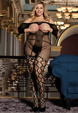 Plus Size Sexy Fishnet Open Up Off Shoulder Bodystocking