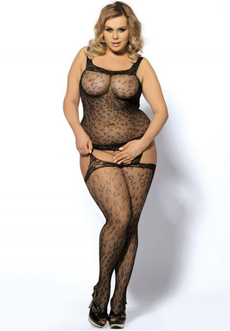Plus Size Leopard Bodystocking