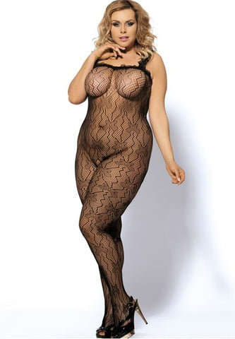 Plus Size Black Lace Bodystocking