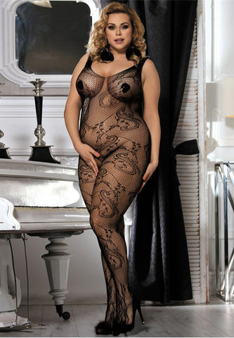 Plus size Floral Lace Bodystocking