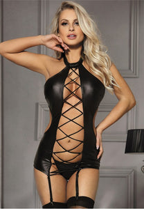 Black Sexy Lady Leather Lingerie