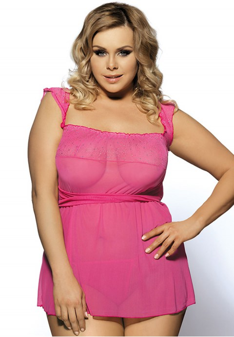 Pink Plus Size Mini Babydoll Dress With Narrow Sleeve Neko Rose