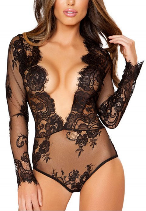 Black Exquisite Lace Sleeve Teddy