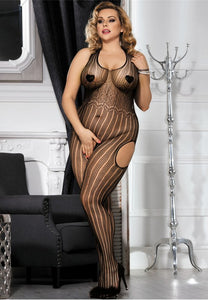 Plus Size Halter Striped Crotchless Bodystocking