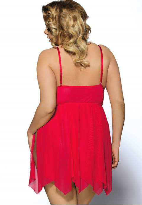 Plus Size Red Flirty Lace and Microfiber Babydoll