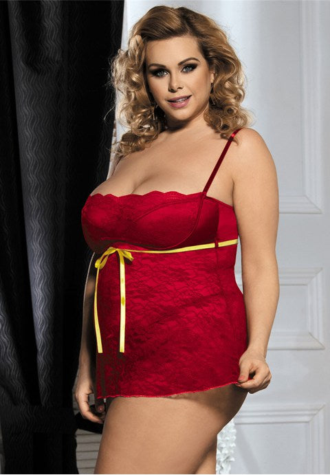 Plus Size Red Lace Babydoll