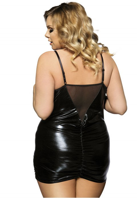 Plus Size Black Open Cup Leather Babydoll