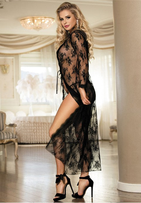 Black Delicate Lace Gown