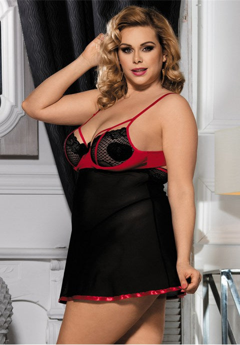Black Plus Size Stylish Floral Lace Nightdress