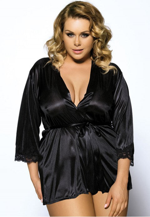 Blue Plus Size Silky Babydoll With Waist Belt