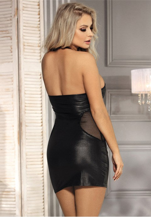 Black sexy lady leather skirt