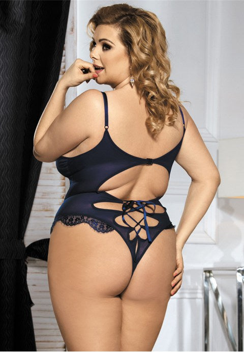 Blue Plus Size Croch Front Teddy