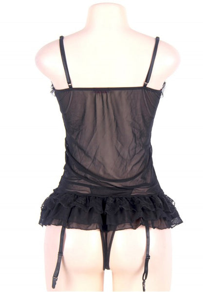 Black Plus Size Transparent Babydoll With Lace Layer